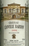 leoville barton 1998 - Saint Julien - Bordeaux Wine - Fine French wine by the case. Wedding Wine, Wine Gifts, Wine Delivery, Corporate Gifts, Retirement Gifts, Wine Offers.